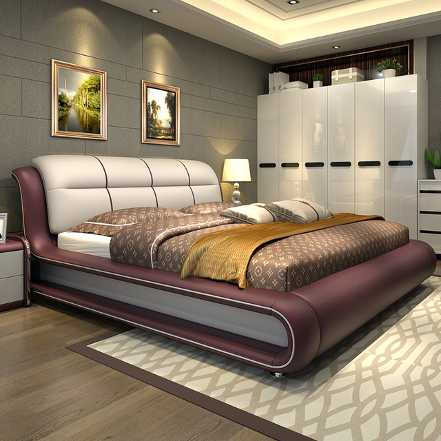 Contemporary Furniture Bedroom: Modern Bedroom Furniture Bed With Genuine Leather M01-in