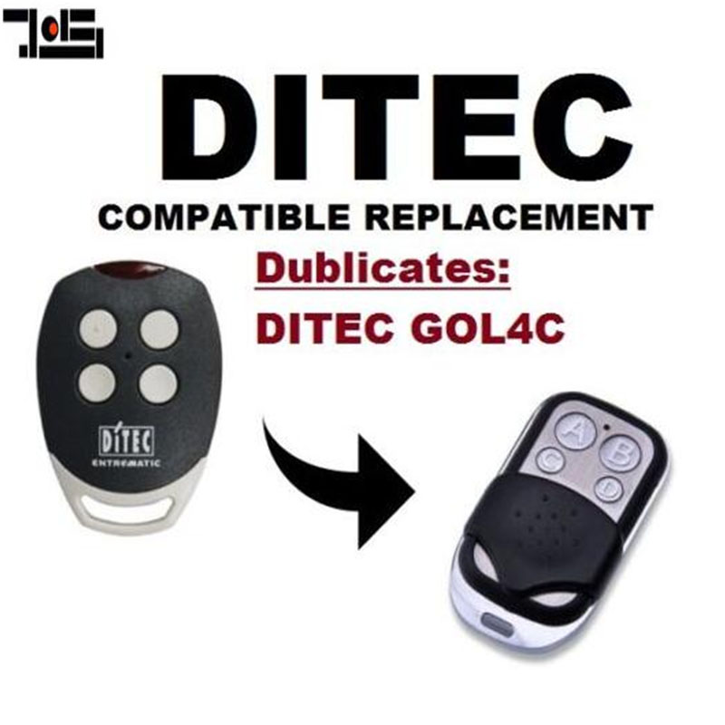 For DITEC GOL4C Replacement  Remote Control Transmitter  Clone 433.92/433MHz Fixed Code Key Fobs