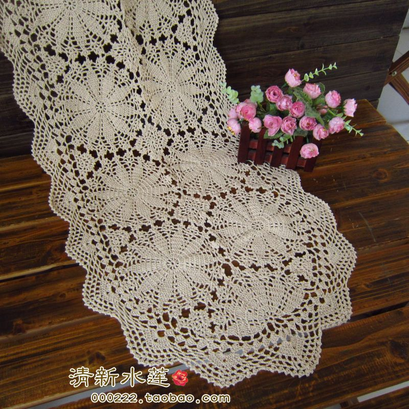 Euiopean Design Handmade Crochet Table Runner Cotton Knitted 100% White  Cotton American Rustic Fashion Vintage Cabinet Cover