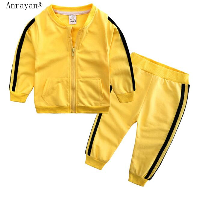 2020 New Autumn Fashion Boys Girls Clothes Cotton Long Sleeve Solid Zipper Jackets Pants 2pcs Baby Tracksuits Clothing Sets