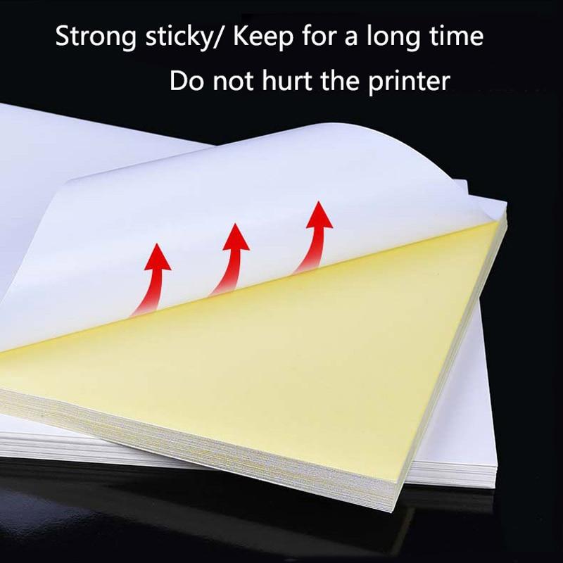 50 Листов A4 Лазерный Принтер Копир Крафт Бумага Белая Самоклеящаяся Наклейка Этикетки Матовая Поверхность Бумажного Листа