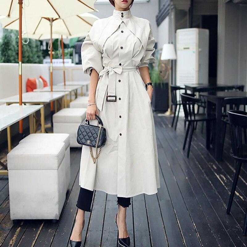 Elegant   Trench   Coat Women Autumn Winter With Belt Casual Solid Color Long Windbreaker 2019 European Stand Collar Overcoat W538
