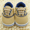 Newborn Infant Baby Boy Girl New Cotton Canvas Coffee Soft Sole Lace Up Shoes First Walker