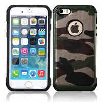 New Fashion Camouflage Hard Case For Apple IPhone 5 5S TPU PC PU Leather Anti Knock