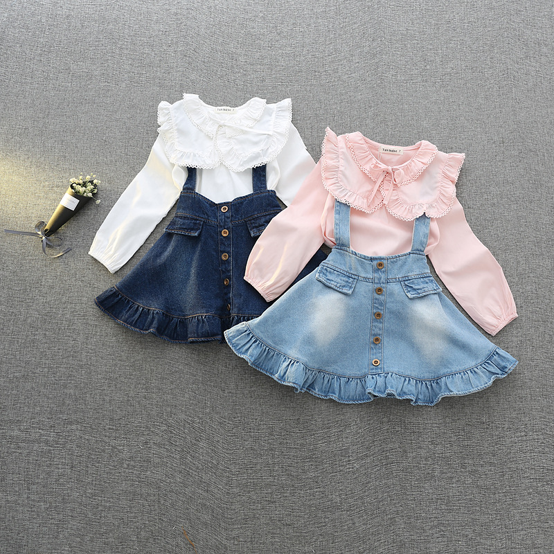 Children Girls Dress Set Autumn Spring New Fashion Clothing Kids Bow Long-sleeved Shirt + Dress Two-piece Set