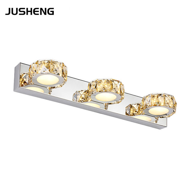 Us 89 57 Jusheng Stylish 9w Led Wall Lights Crystal Indoor Sconce Lighting Fixture 3 46cm Round Shape In Bathroom Lamps From