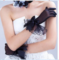 Black Wedding Gloves Wedding Gloves Edge bow fingers Wedding Lace Satin Beads Wedding Gloves Free Shipping