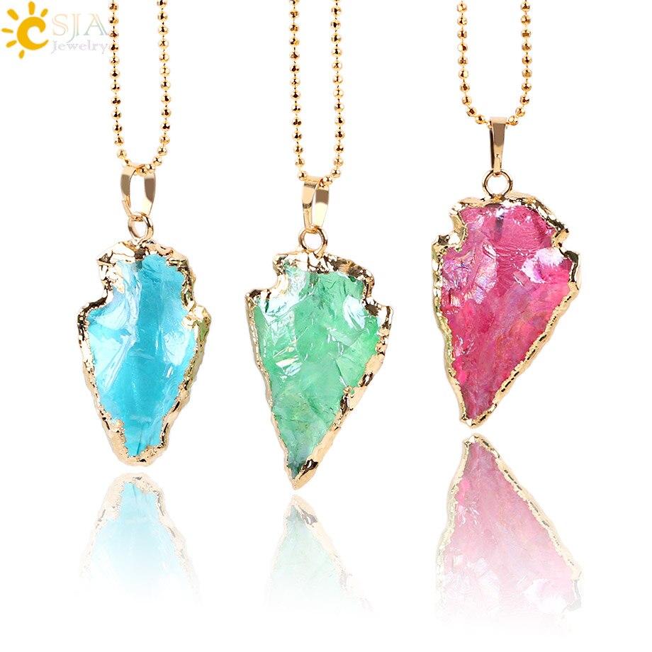 Подвеска CSJA Raw, из натурального кварца, с кристаллами стрелы, красный, синий, зеленый, драгоценный камень, золотого цвета, ожерелье, ювелирных изделий E634