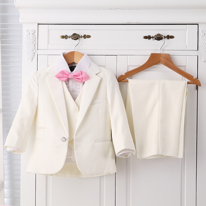 (Jacket +vest +tie+pants+bowtie) Boy Suits Flower girl Slim Fit Tuxedo Brand Fashion Bridegroon Dress Wedding white Suits Blazer