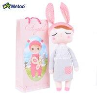 METOO Angela Poppen Pluche Lachend Speelgoed Meisje Dragen Patroon Rok Gevulde Gift Speelgoed voor Kinderen 18 * 4' met geschenken Box