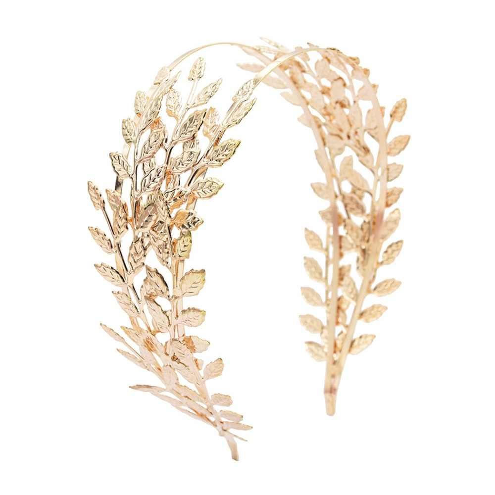New Double Gold Leaves Hairbands Wedding Headpiece Bridal Hair Accessories Wedding Crowns Gold Tiaras Forehead Head Jewelry