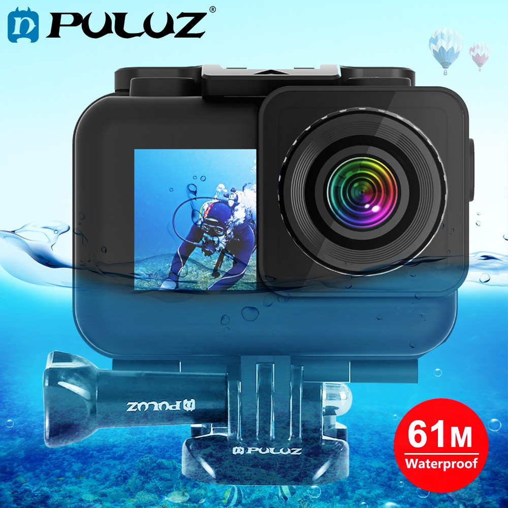 PULUZ 61m Waterproof Housing Protective Shell Case with Buckle Basic Mount & Screw for DJI Osmo Action camera|Sports Camcorder Cases| |  - title=