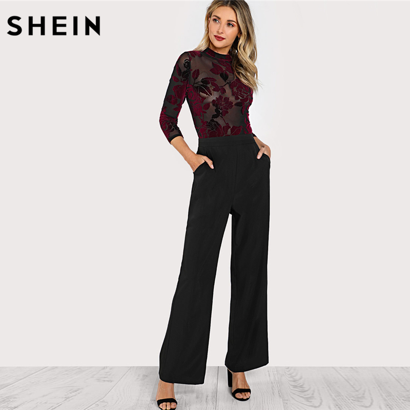 SHEIN Women Jumpsuits Party Multicolor Three Quarter Length Sleeve High Waist Flock Mesh Bodice Wide Leg Jumpsuit ...
