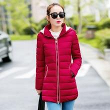 Мода Зима Теплая Вниз Куртка женщин Длинные Стройные Пальто 2016 Мода Женщин Вниз Куртки Хлопка Куртка Пальто Плюс Размер М-2XL