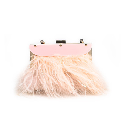 NEW Designer Ostrich Fur Feather Wallet Clutch Bag Women Clutch Diamond Knuckle Rings Dinner Evening BOX Bag Chain Purse 2018 new arrival retro style box bag luxury handbags women bags designer chain tassel evening totes bag box clutch purse