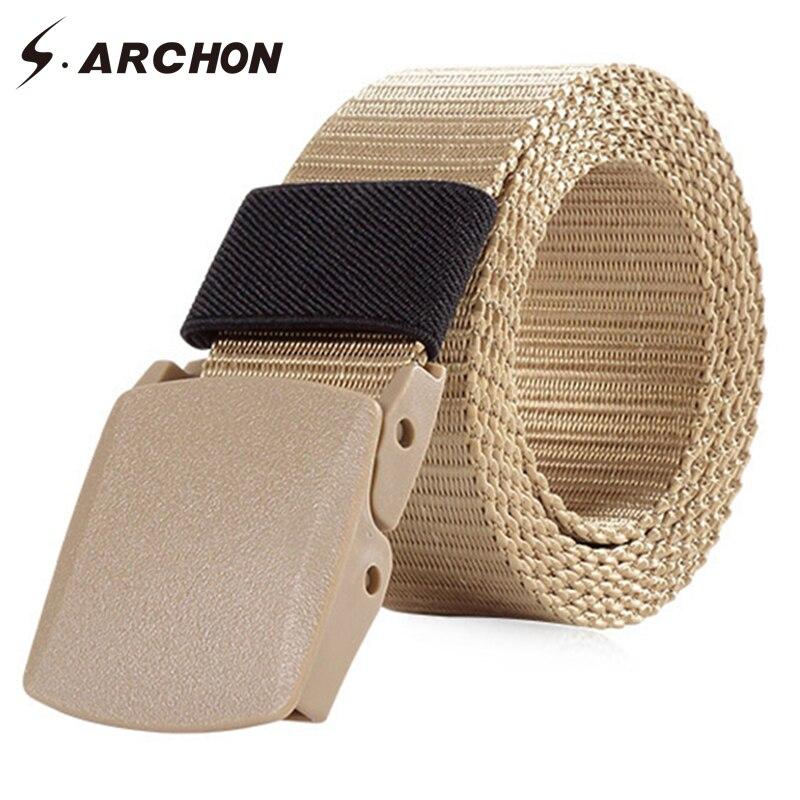 S. ARCHON Heavy Duty Nylon Automatique En Plastique Boucle Tactique Ceinture Hommes Casual Réglable Survie Bracelet Militaire Armée Ceinture de Combat