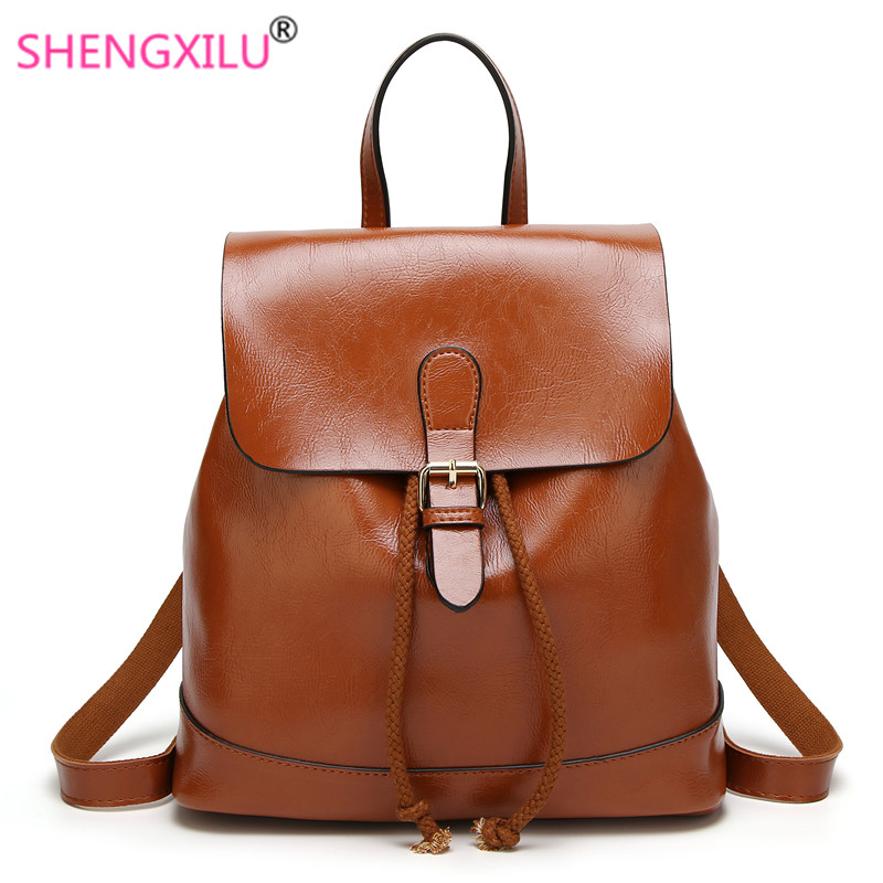 Shengxilu 100% Oil Wax Leather Women Backpack New Summer Autumn Female Simple England Travel Backpack Brown Brand Women Bag