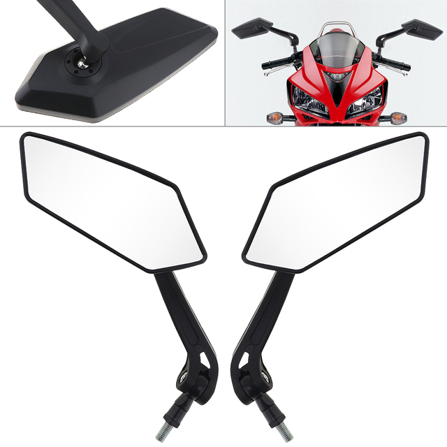 2Pcs/lot  Motorcycle Black Mirror Scooter E Bike Rearview Mirrors Electrombile Back Side Convex Mirror 10mm Carbon Fiber