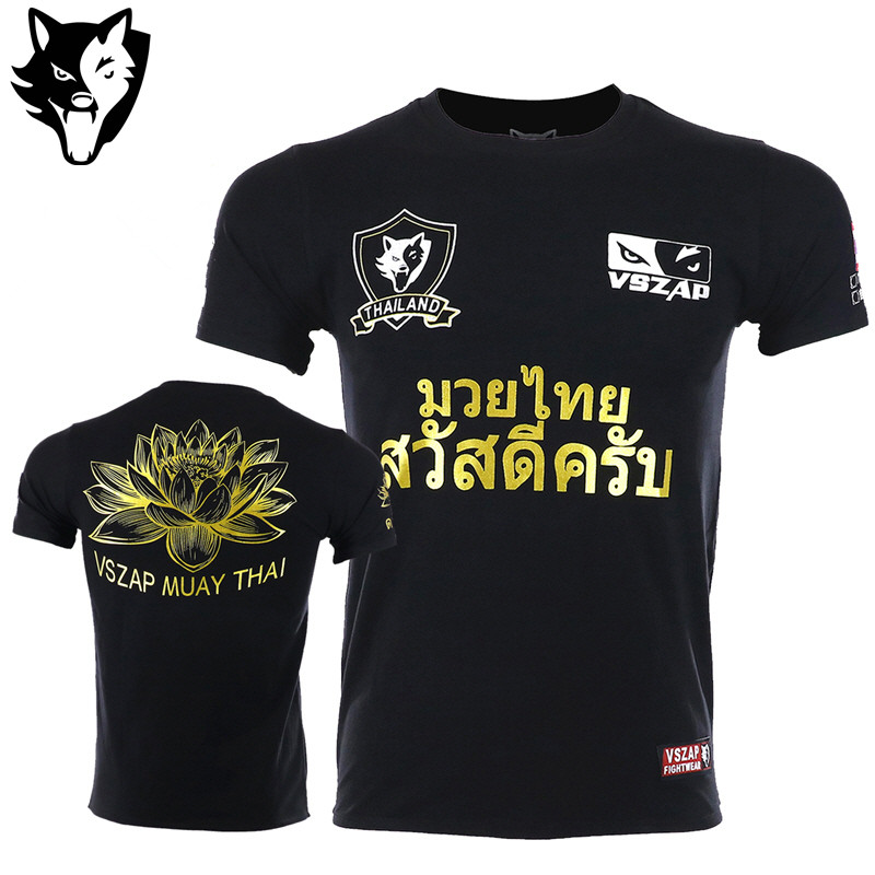 VSZAP Muay Thai Fighting MMA Shirts Workout FIGHTING Training Sweatshirt Tiger Sports Boxing Martial Arts T Shirt