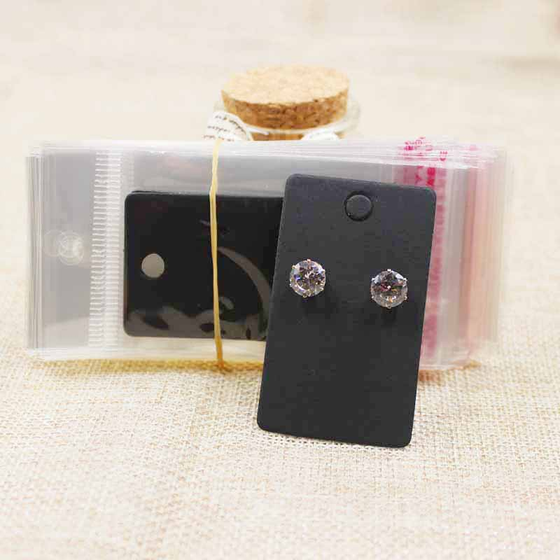 6*3.5cm kraft/black Stud earring HangTag card custom logo cost extra print earring Display packing Card 200pcs +200 plastic bag image