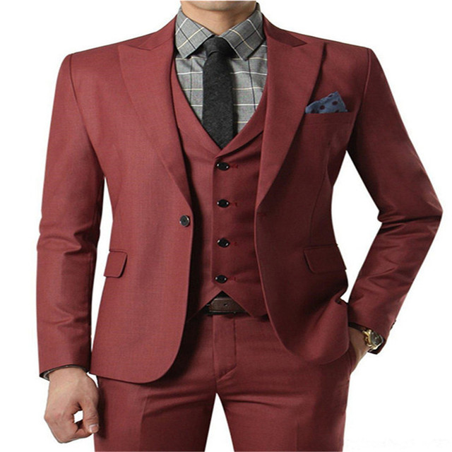 New Style Groomsmen Shawl Lapel Groom Tuxedos Red/White/Black Men Suits Wedding Best Man Blazer (Jacket+Pants+Tie+Vest)