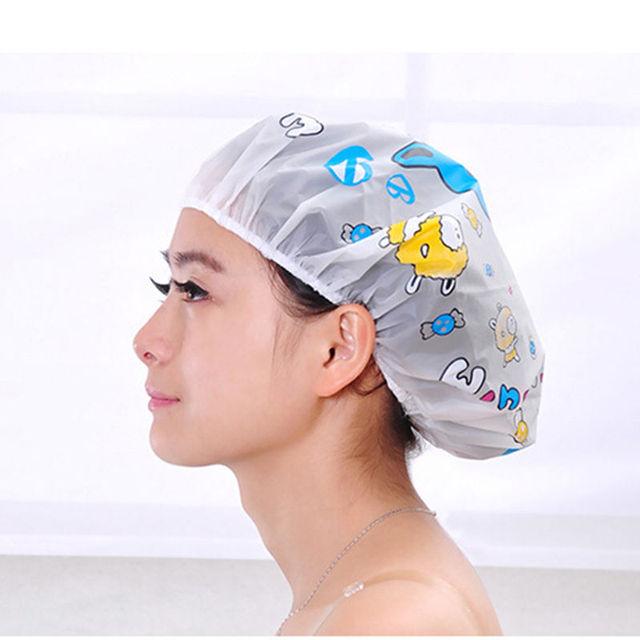 Ladies Women Clear Bath Spa Caps Elastic Waterproof Hats Comfortable Lovely Cartoon Shower Caps Bathing Bathroom Products