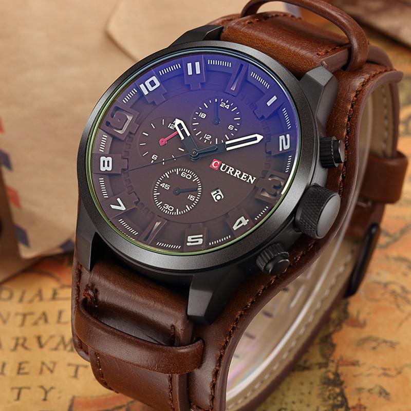 Prix pour Curren Montre Hommes Marque De Luxe Quartz Hommes de Montres En Cuir Imperméable Casual Sport Montre-Bracelet Militaire Horloge Relogio Masculino