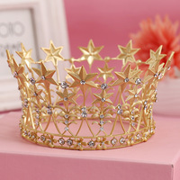 Vintage Baroque Hair Jewelry Wedding Bridal Bridesmaid Star Women Girl Gold Crystal Tiara Crown Headband Bridal