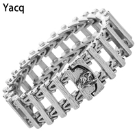 Mens Dragon Wolf Cuff Bracelet Stainless Steel Biker Heavy Jewelry Fathers Day Gift for Dad Him Boyfriend dropshipping 8.5 D112