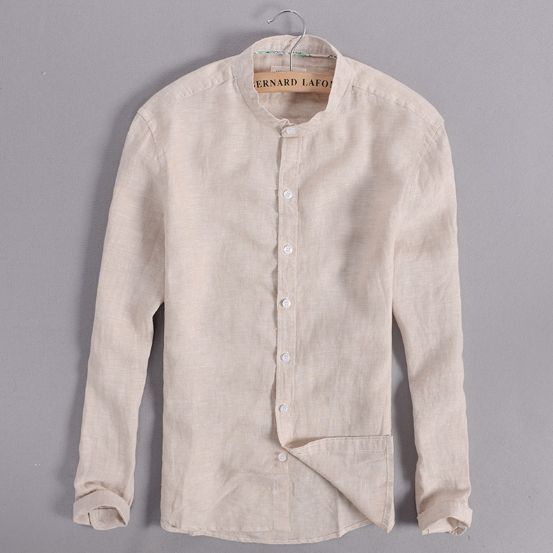 Sky blue linen shirt men summer long sleeve casual men shirts slim breathable shirt mens brand clothing mens shirts chemise 3XL 8