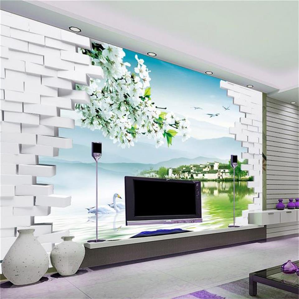 Custom 3d photo wallpaper room mural Swan lake brick flowers landscape painting sofa TV background non-woven HD photo wallpaper