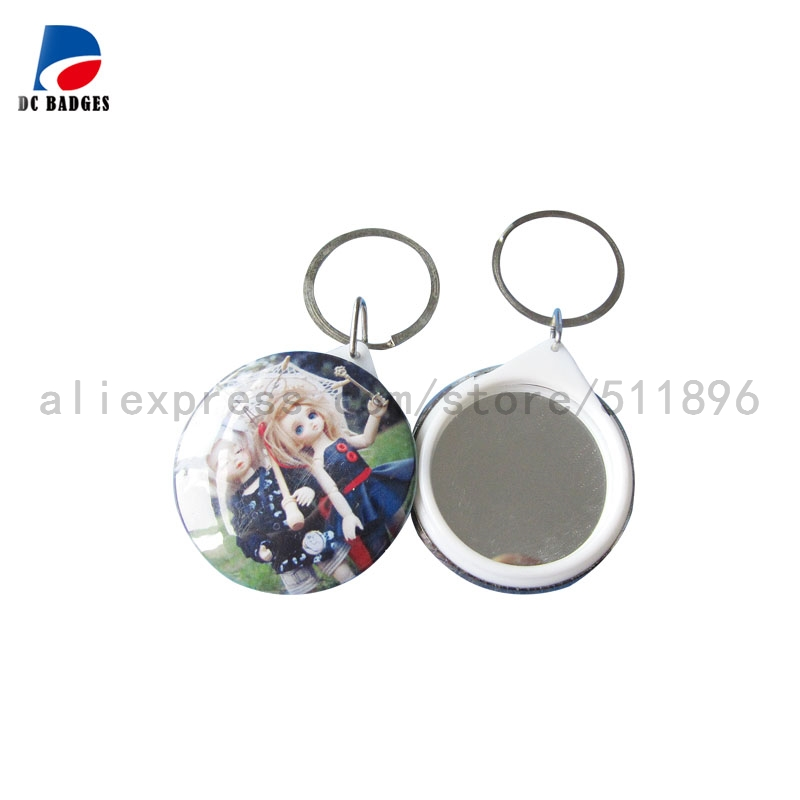 500sets 44mm mirror keychain button material mirror badge material factory direct sale