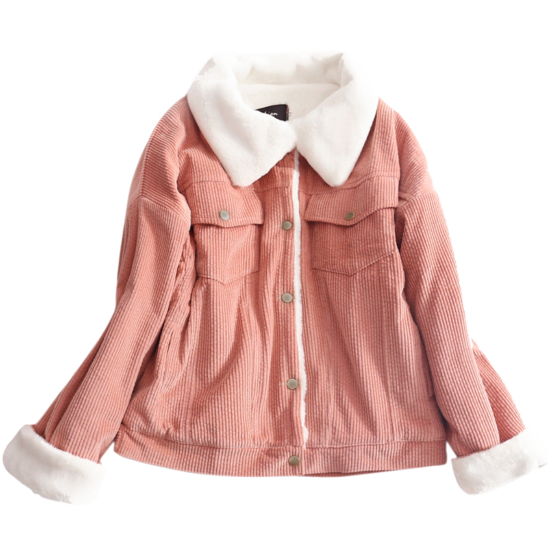 Loose Corduroy Jacket Women New Thick Winter lambswool Jackets Ladies Cute Coat Warm   Parka