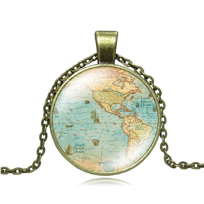 Vintage jewelry globe map necklace earth world map art glass round vintage jewelry globe map necklace earth world map art glass round dome pendant collares mujer bronze chain necklace women gift gumiabroncs Gallery