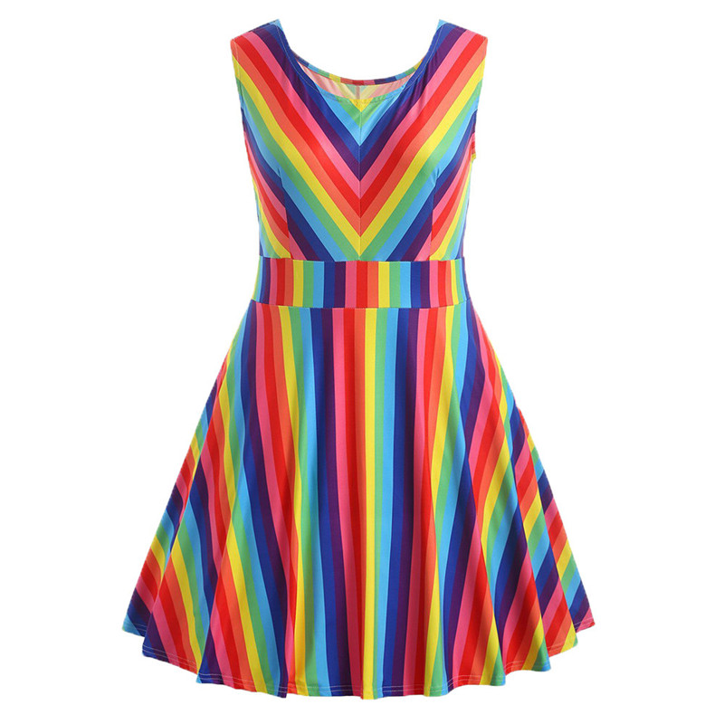 New 2018 Hot Selling Womens Vintage Plus Size Rainbow Printed Sleeveless A-Line Camis Mini Dress For Dropship