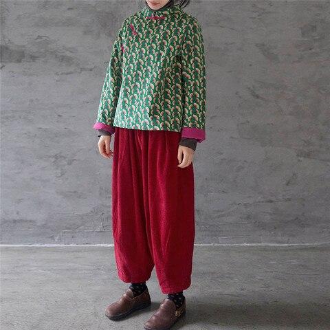 Johnature Original Corduroy New Print Chinese Style Cotton-padded Jackets 2019 Winter Stand Collar Patchwork Women Jackets Karachi