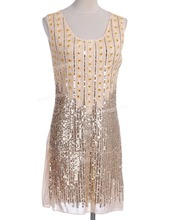PrettyGuide Women Vintage 1920s Gatsby Style Beads and Sequin Embellished Shift Dress Flapper Costome