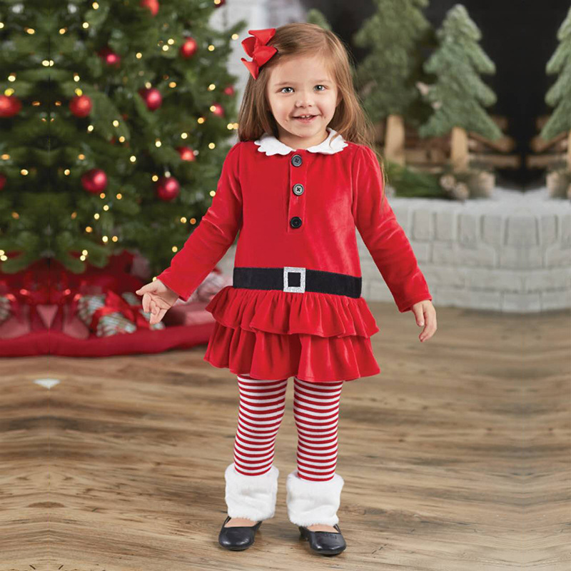 2017 Girls Christmas Clothes Set For Girl Kids Tutu Dresses + Striped Pant Children New Fashion Clothing Set Baby Girls Suits fashion summer kids girls clothing set striped shirt coat pant 3pcs cotton children girls suits sportwear orange clothes aa5390