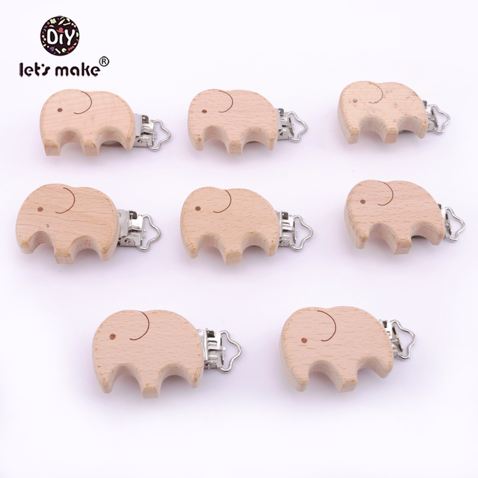 Lets make Dummy Clip 5pcs Beech Wooden Teether Pacifier Clip Cartoon Engraved Elephant DIY Nursing Accessories Baby Teether