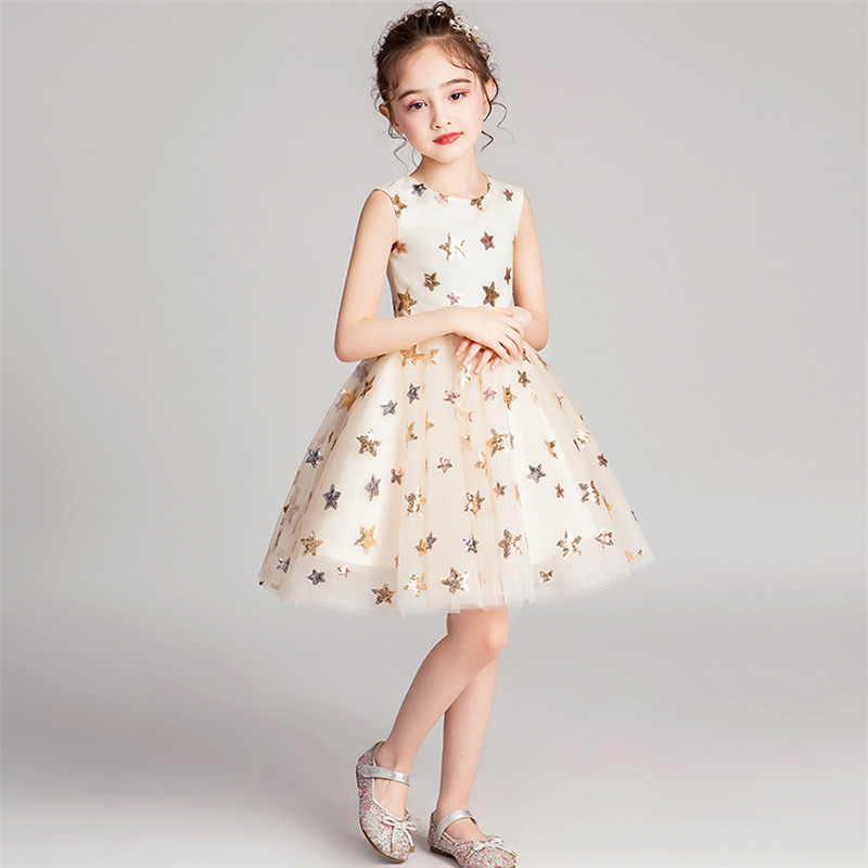 2019Spring Summer Luxury New O-Neck Sequined Baby Kids Birthday Evening Party Prom Dress Little Girls Teens Wedding Mesh Dress