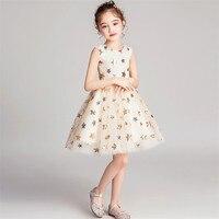 2019Spring Summer Luxury New O Neck Sequined Baby Kids Birthday Evening Party Prom Dress Little Girls Teens Wedding Mesh Dress