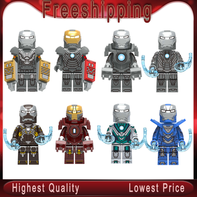 Building Blocks Super Heroes Bricks Iron Man Tony Stark Mark 24 Mark 25 Mark 31 Figures Toys Gift For Children X0253