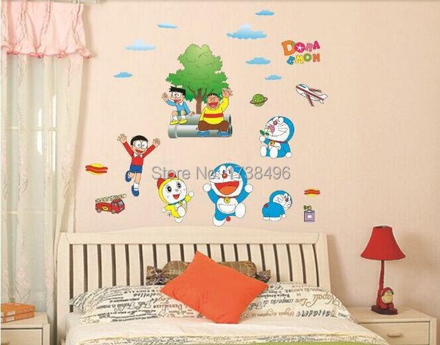 ay860 tembok besar populer kartun doraemon pola wallpaper, wall
