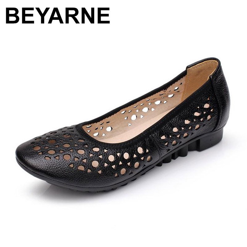 BEYARNE 2017 Women Loafers Lady Flat Shoes Woman Summer Flats Hollow Out Comfortable Soft Outsole Genuine Leather Moccasins