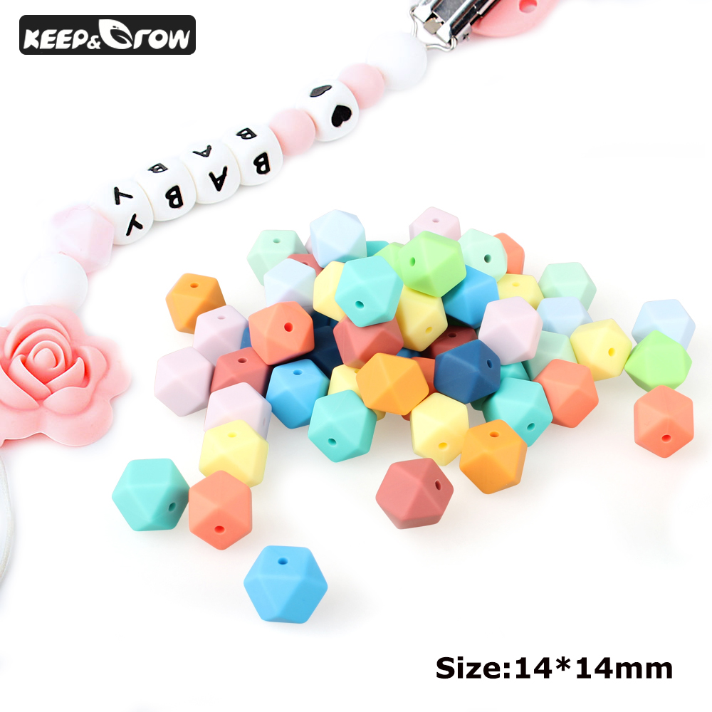 KEEP&GROW 15pcs 14mm Silicone Beads Hexagon Baby Teething Beads BPA Free DIY Necklace Pacifier Chain Baby Teether Accessory