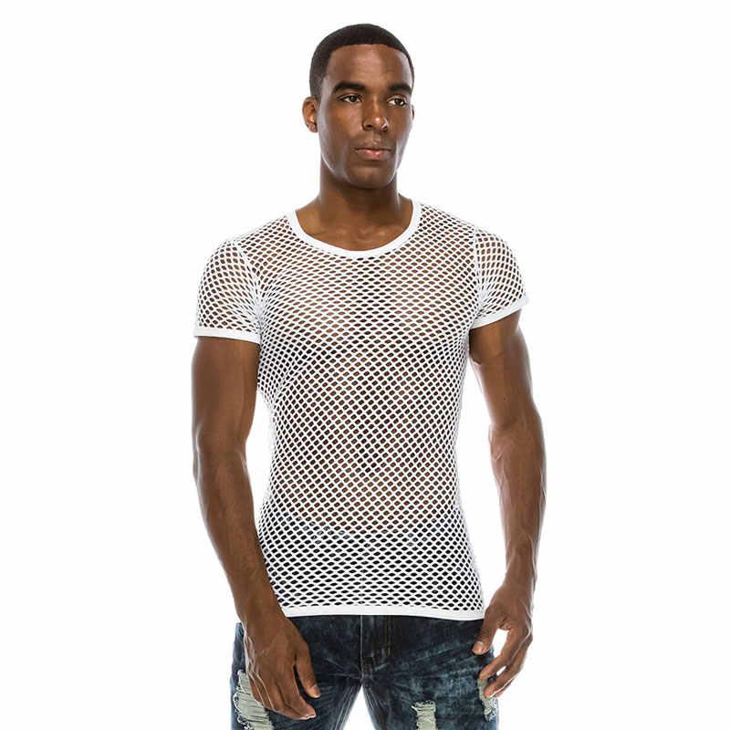 男性のメッシュ Tシャツ 2018 半袖セクシーな透明ナイトクラブの摩耗 Tシャツ男性ストリートパーティー実行トップス