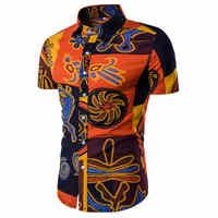 Degli uomini Della Camicia di Estate di Stile di Palma Albero di Stampa Spiaggia Camicia Hawaiana Uomini Casual Manica Corta Hawaii Shirt Chemise Homme Formato Asiatico m-5XL