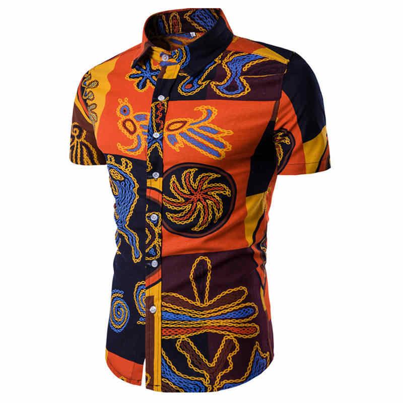 男性シャツ夏スタイルパームツビーチハワイシャツ男性カジュアル半袖ハワイシャツシュミーズオムアジアサイズ m-5XL