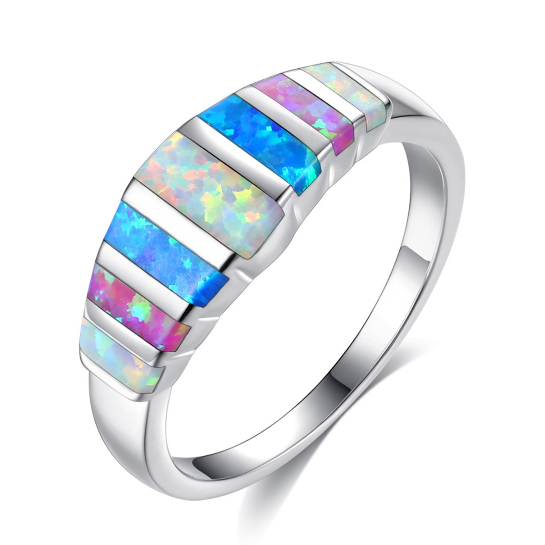 Trendy Rainbow Color Crystal Ring Wedding Bands for Women Charming Moluti Color Opal Silver Plated Finger Ring Anniversary  Gift
