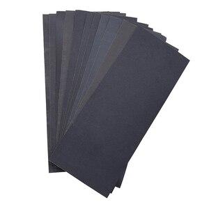 Image 1 - 12 шт. листы полностью абразивная Шкурка наждачная сухой мокрой Водонепроницаемый наждачная бумага Ассорти Грит 400/ 600/ 800/ 1000/ 1200/ 1500